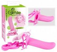 SMILE Horny - felcsatolható, üreges dildó (pink)