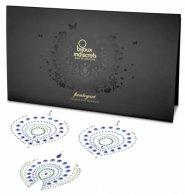 Csillogó gyémántok intim ékszer szett - 3 részes (zöldkék)